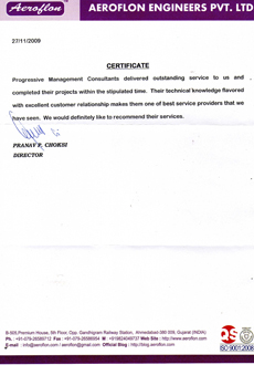 AEROFLON ENGINEERS PVT. LTD ISO Certification