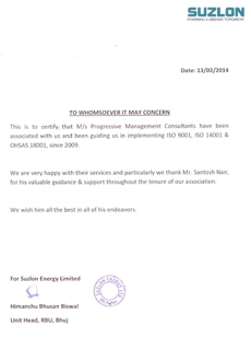 SUZLON ISO Certification